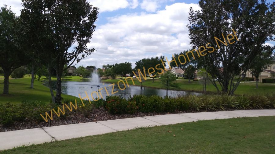homes for sale in Black Lake Park Winter Garden Florida. Pond fountain.