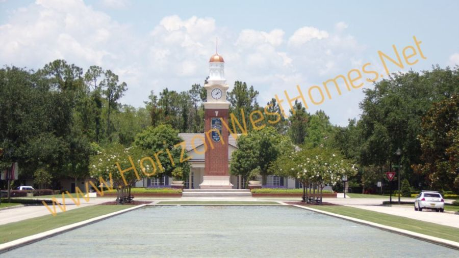 independence Homes clocktower entrance clubhouse in winter garden florida