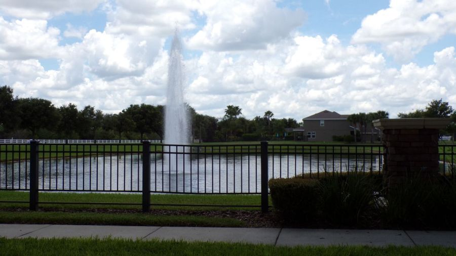 Summerlake fountain in winter garden. Summerlake real estate. homes for sale.
