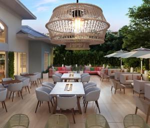 Sunset walk Margaritaville outside lounge