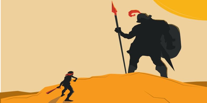 David facing Goliath