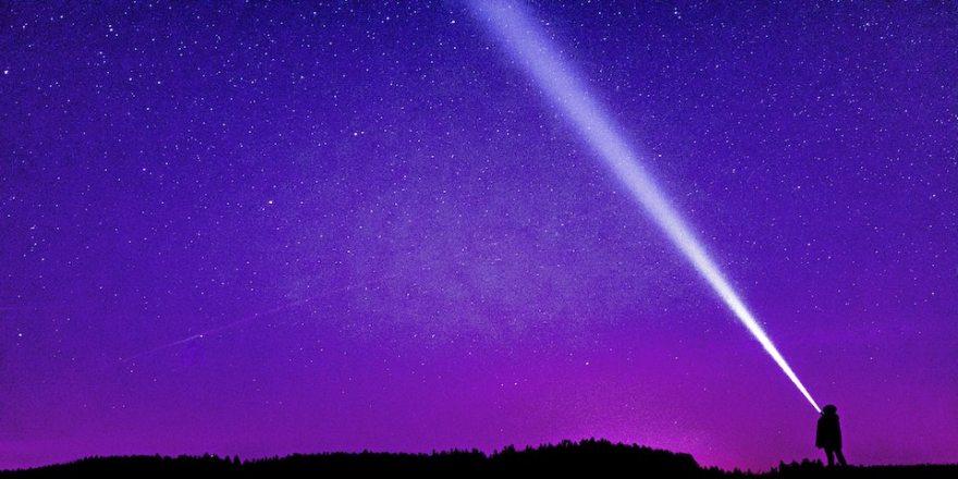 Beam of light shining upward