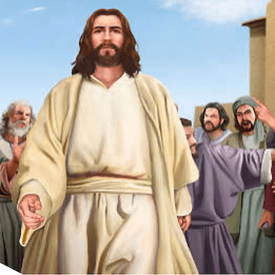 Jesus in the midst of an angry crowd