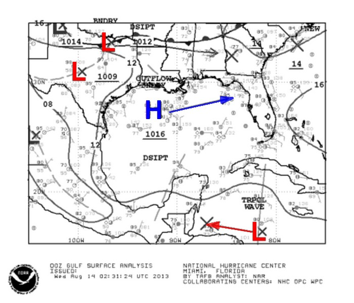 HIGH PRESSURE MAY STEAR CARIBBEAN SYSTEM TOWARD MEXICO
