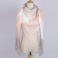 Grey, Pink and White Triangle Winter Scarf for Women
