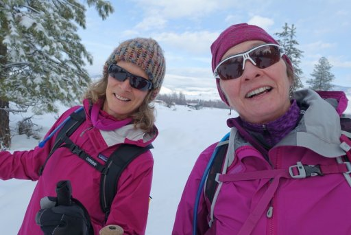 Two women cross country skiing winthrop washington