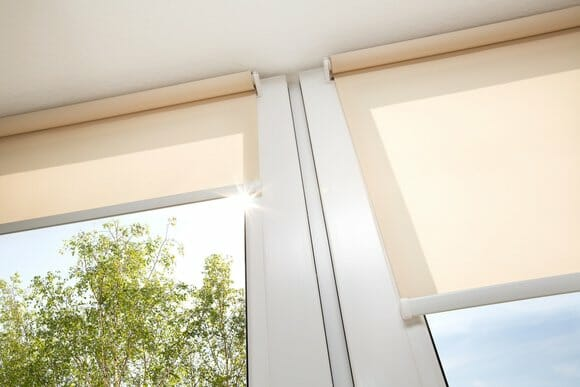 modern blinds with sun shining