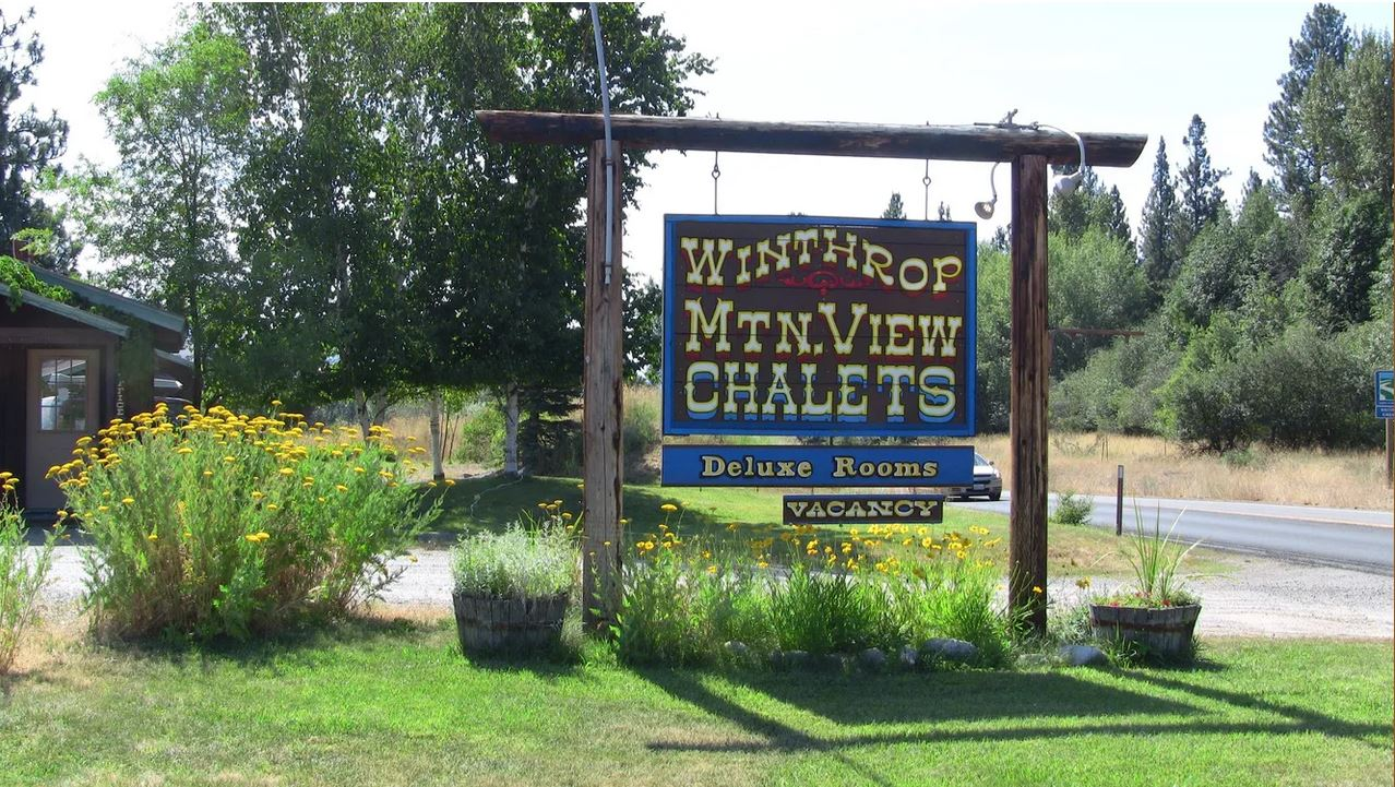 Winthrop Chalets wood sign
