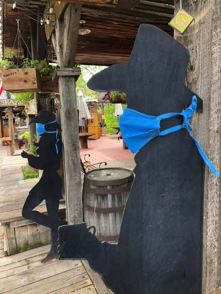 Photo credit to Laurie Ann Fuller  Sheri's Sweet Shoppe Safe Start COVID Coronavirus be an outlaw wear a mask mask up outlaws only