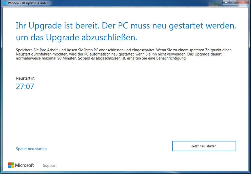 Windows 10 Upgrade Assistant - Neustart