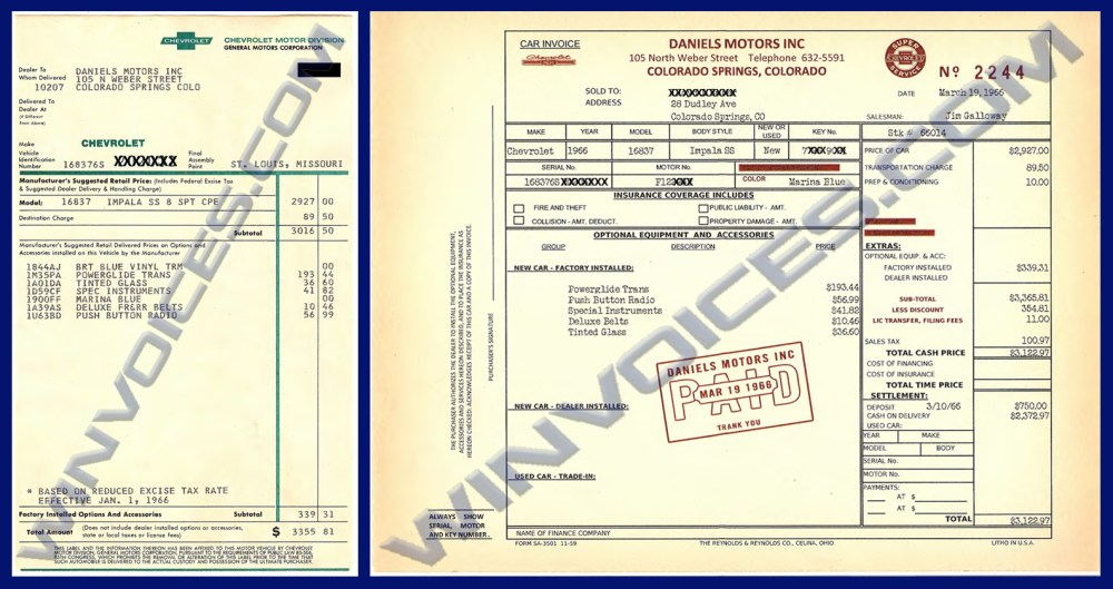 medium resolution of 1966 impala ss window sticker 1966 impala ss dealer invoice