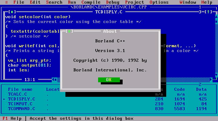 Borland CPP 3.1 - DOS IDE