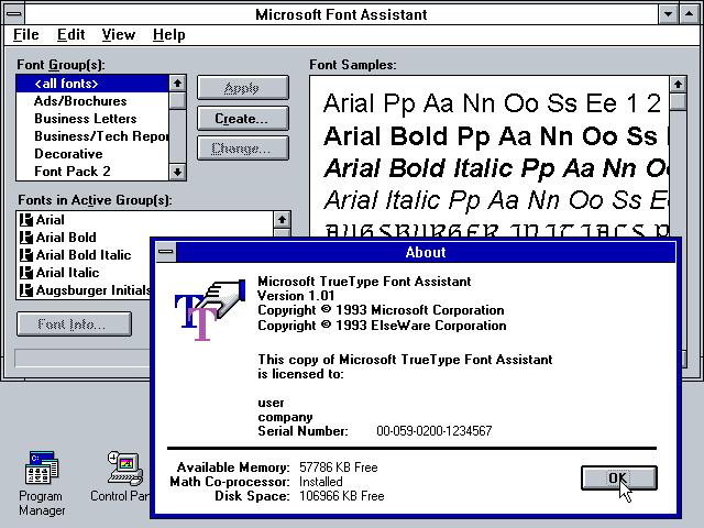 Download WinWorld: Microsoft TrueType Font Pack 2.0