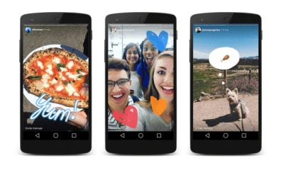 tres smartphens con imagenes de instagram