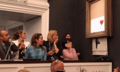 Obra de Banksy se autodestruyó