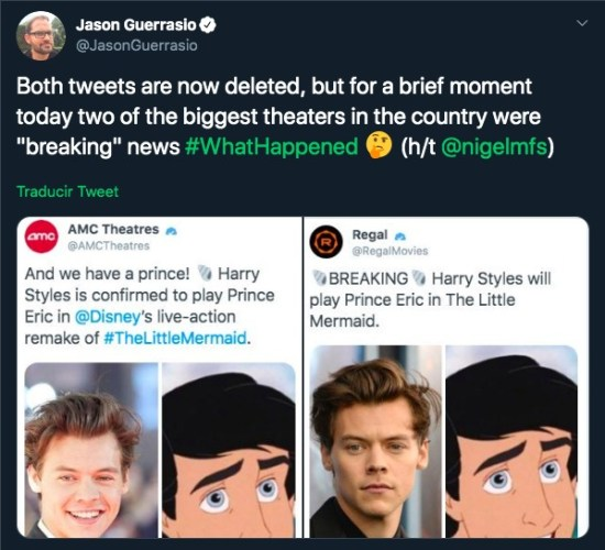 Un ex 'One Direction' ya fue confirmado como 'Eric' en 'La Sirenita' Tweets-de-Harry-Styles-550x500