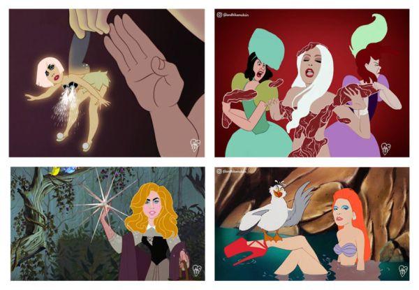 """Así se ven las princesas de Disney convertidas en """"mujeres reales"""" lady-gaga-andhika-muskin-600x415"""