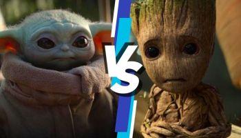 duelo entre Baby Yoda y Baby Groot