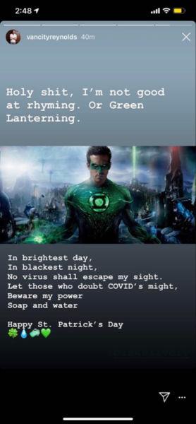 Ryan Reynolds se burló de 'Green Lantern' para mandar un mensaje por coronavirus green-lantern-ryan-reynolds-coronavirus