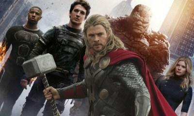 fan póster de Thor con los Fantastic Four