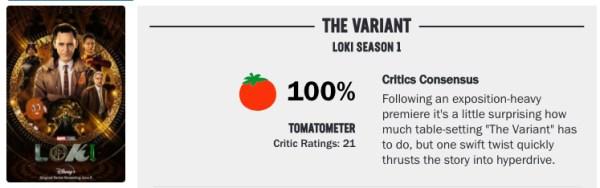 calificación del episodio dos de Loki