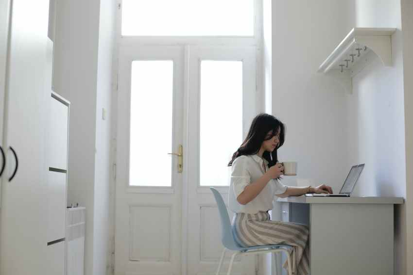 asian freelancer working at home