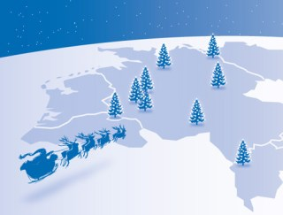 Schlitten mit Weihnachtsmann fliegt über Europa, die Lokationen der Firma sind über leuchtende Weihnachtsbäume gekennzeichnet