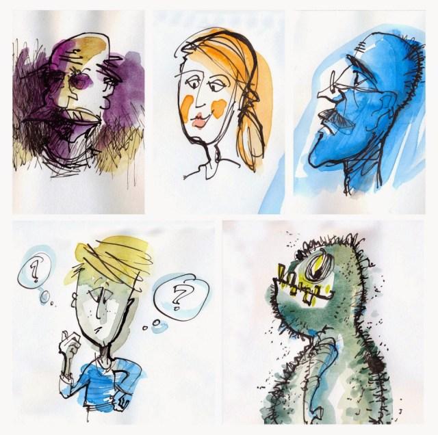 5 Bilder mit einem Monster