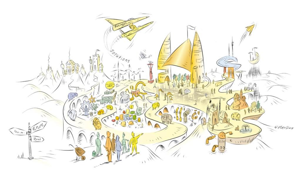 Strategische Visualisierung für die neue Vision eines gemeinsamen Marktplatzes der Zukunft als Illustration