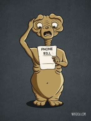 fun, funny, t-shirt, ET, extraterrestial, phone bill, spielberg