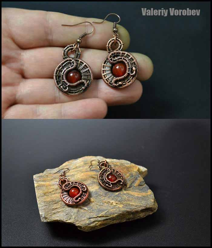 Jewelry making from copper wire. How to make wire wrapped Earrings step by step. Wire wrap tutorial.