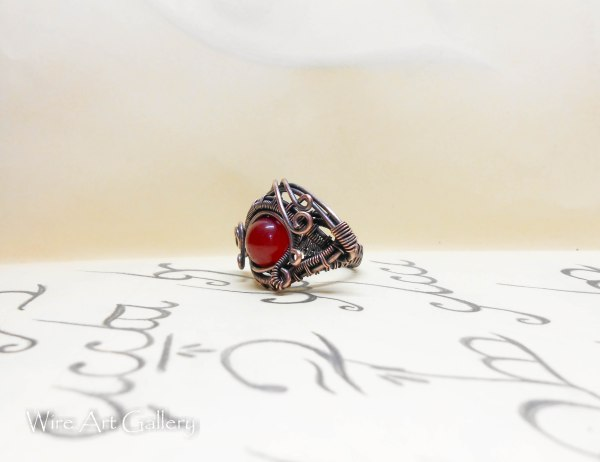 Evil Eye Ring Wire Wrapped Dragon Oxidized