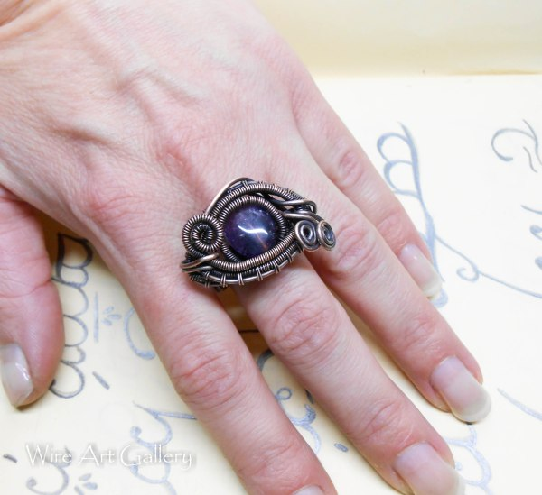 Wire Wrapped Dragon Eye Ring Oxidized Copper Amethyst