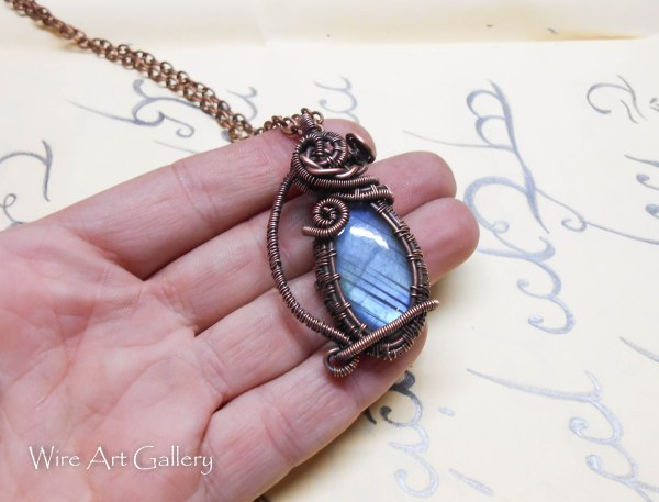 Wire Wrapped Labradorite Pendant Oxidized Copper