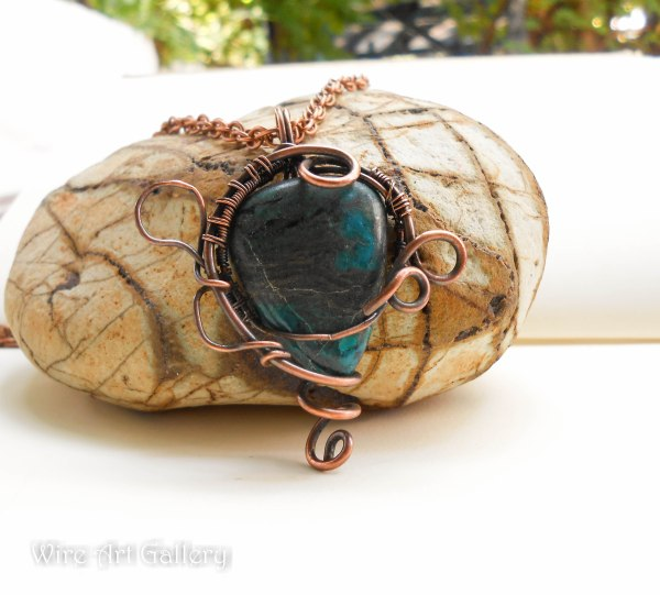 Wire Wrapped Copper Pendants Semi-precious Stones