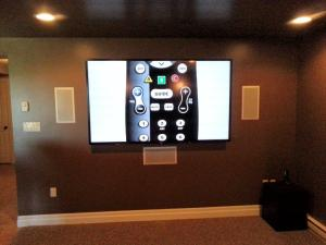 "90"" Sharp Aquos LED 3D TV with Speakercraft in wall Cinema series speakers"