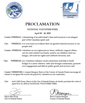 2020 National Volunteer Week Proclamation