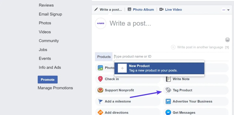 Facebook tag product