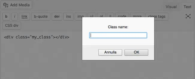 The callback function of our example prompts an input box to allow users to set a class name