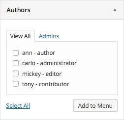 The final meta box will allow the admin user to add links to author archives