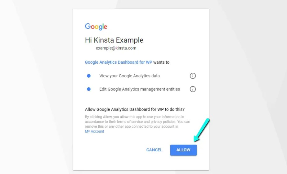 Allow access to Google Analytics Dashboard for WP