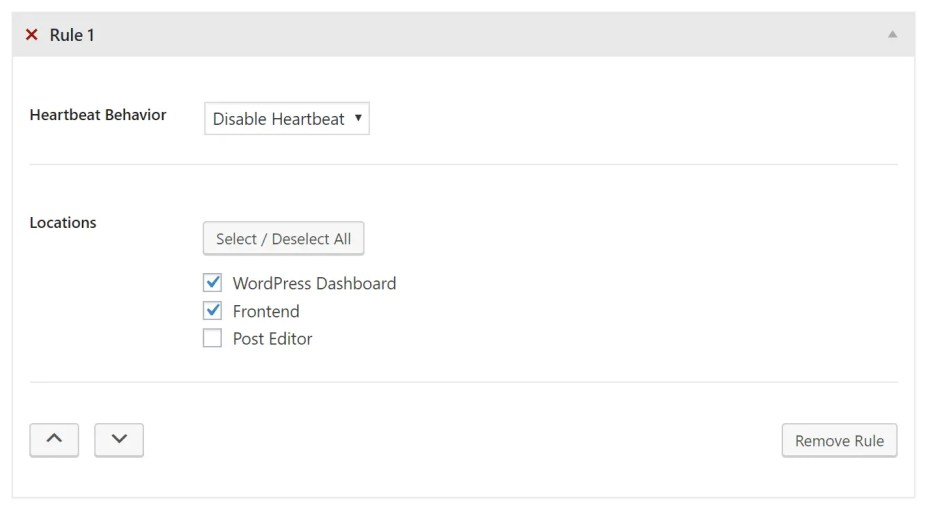 Disable heartbeat control on dashboard and frontend