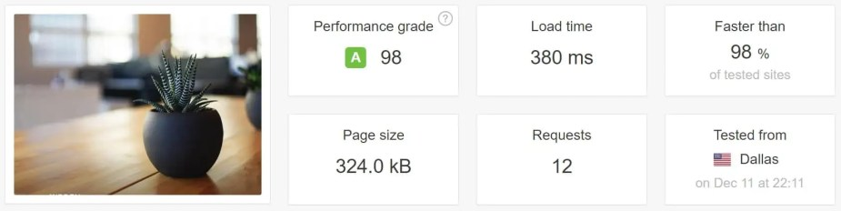 after pagespeed optimizations speed test kinsta