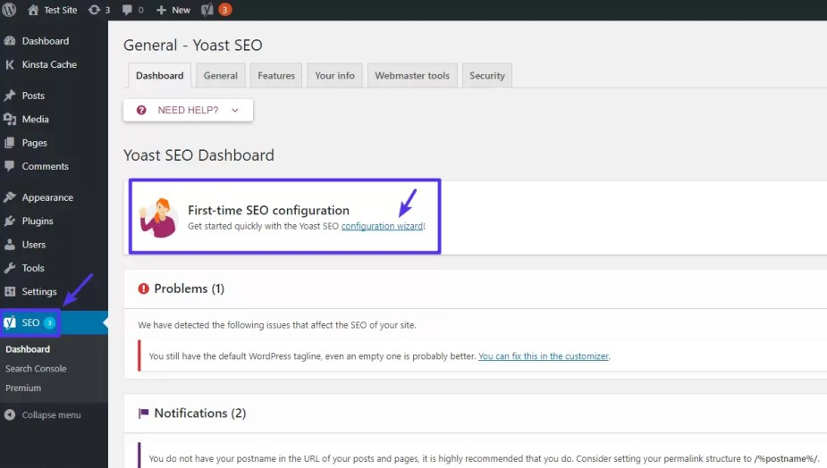 How to access Yoast SEO configuration wizard