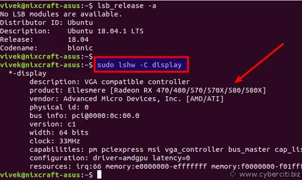 Linux to get the GPU information command