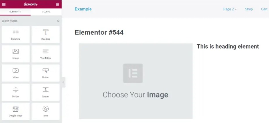 An example of a WordPress page builder