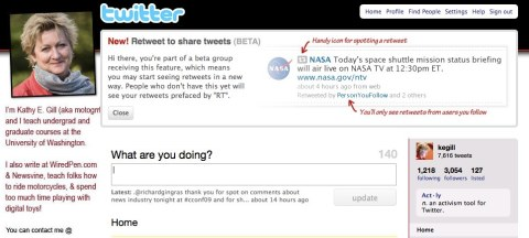 twitter retweet alert message for beta test