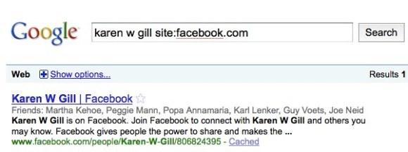 Successful Facebook Search Via Google