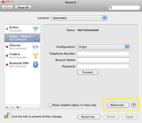 Configuring Virgin Broadband2Go :
