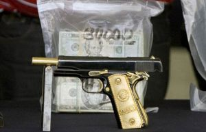 gun captured with money